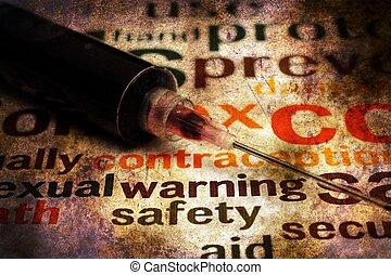 spritze, grunge, begriff, sicherheit