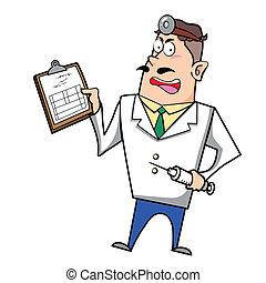 spritze, klemmbrett, karikatur, doktor