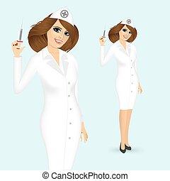 spritze, krankenschwester, feundliches
