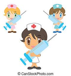 spritze, krankenschwester, karikatur