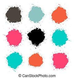 spritzer, -, spritzen, farbe, vektor, satz, freigestellt, weiß