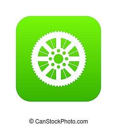 sprocket, bicicletta, verde, icona, digitale