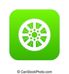 Sprocket from bike icon digital green for any design...