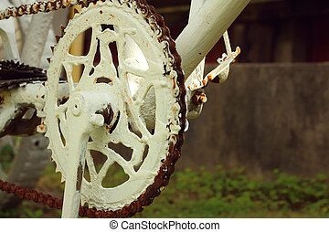 Sprocket of bikes parked at the park.