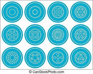 Sprocket wheel icon. Flat vector illustration