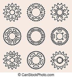 Sprocket wheel icon set, vector thin line