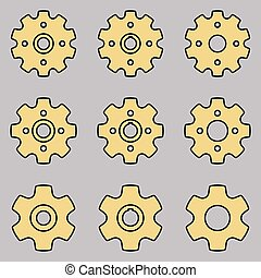 Sprocket wheel vector icons