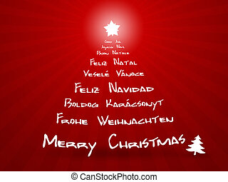 sprog, forskellige, jul, merry