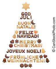 sprog, forskellige, træ, jul, merry