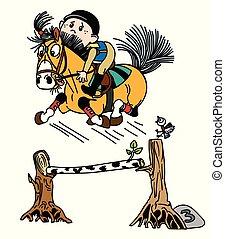 sprong, gek, pony