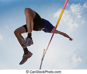 sprong, hardloop wedstrijd, hoog, akker