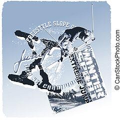 sprong, helling, stijl, ski