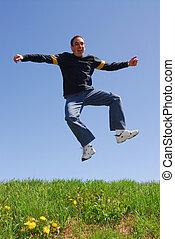 sprong, man, vrolijke