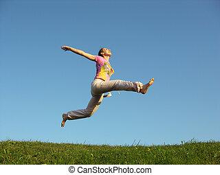 sprong, meisje, hemel, onder
