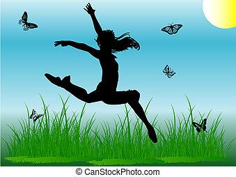sprong, meisje, silhouette