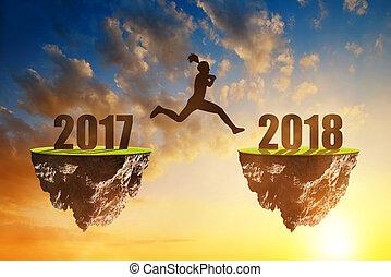 sprong, nieuw, meiden, 2018, jaar