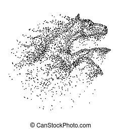 sprong, paarde, vector, deeltje, illustratie