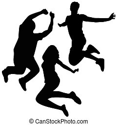 sprong, silhouettes., 3, vrienden, jumping.