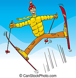 sprong, ski, spotprent, illustratie, man