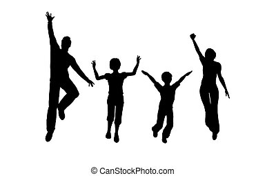 sprong, vier, gezin