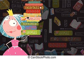 sprookje, boekjes , girl lezen, prinsesje, geitje