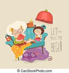 sprookjesboek, grootmoeder, kleindochter, lezende , haar