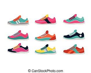 sprort, tornaterem, vektor, futás, cipők
