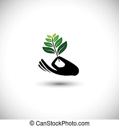 sprout in a hand sign - concept vector icon. the graphic...