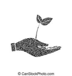 sprout in a hand sign of environmental protection. Vector. Black icon from many ovelapping circles with random opacity on white background. Noisy. Isolated.