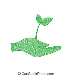 Sprout in a hand sign of environmental protection. Green scribble Icon with solid contour on white background. Illustration.