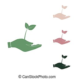 Sprout in a hand sign of environmental protection. Russian green icon with small jungle green, puce and desert sand ones on white background. Illustration.