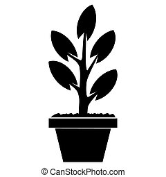 Sprout in Pot. Vector illustration. The concept of growth and be