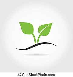 Sprout - Plant sprout on a grey background. A vector...