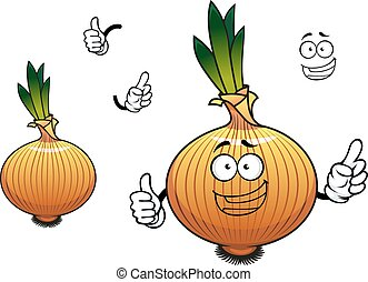 Sprouted cartoon golden onion vegetable character