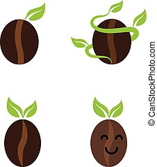 Sprouting coffee bean - A set of coffee bean icons