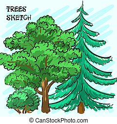 Spruce and green tree. Park. Corporate identity is drawn by hand. Vector