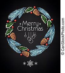 Spruce and holly christmas wreath on black background