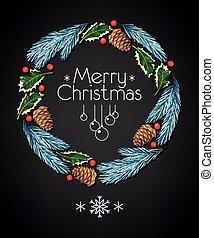 Spruce and holly christmas wreath
