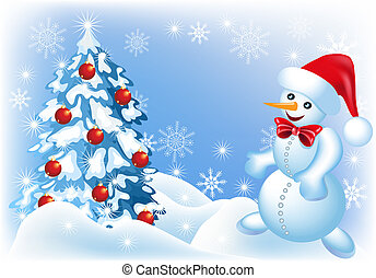 Spruce and snowman - Christmas background with spruce and ...