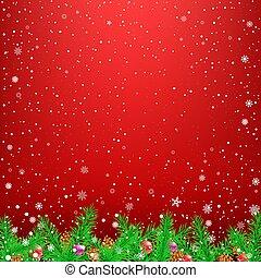 Spruce branch red snow background