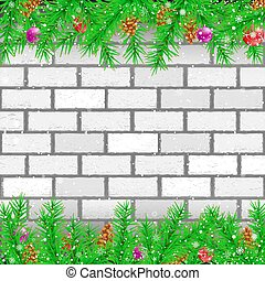 Spruce branch white brick wall