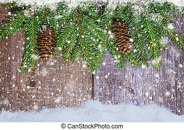 Spruce branches with cones. Christmas and New Year