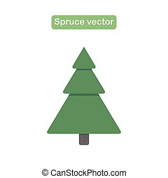 Spruce, christmas tree with snow icon in a flat design.