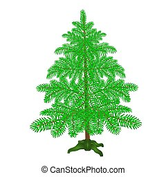 Spruce Christmas tree with the stand on a white background vector