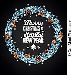 Spruce christmas wreath and chalk letters on black background
