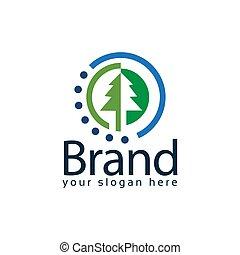 Spruce circle logo. Vector Illustration on black background
