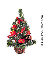 Spruce - Decorative christmas tree isolated on the white...