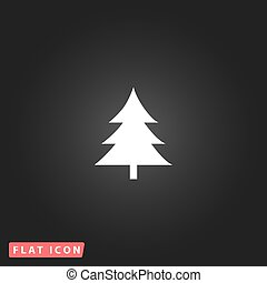 Spruce flat icon - Spruce, christmas tree. White flat simple...