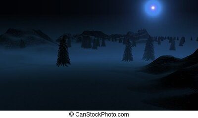 """""""Spruce forest and hills in the snow under the moonlight."""""""