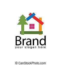 Spruce house logo. Vector Illustration on black background
